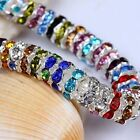 100x Silver Plated Mixed Rhinestone Crystal Spacer bead Beads Findings , 8mm