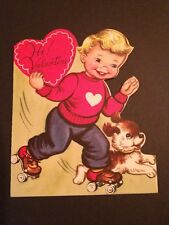 Vintage Valentine Boy On Roller Skates Dog Folded c1950s ~Used~Whit Brand USA