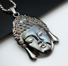 Free HOT Bead chain Black Titanium Steel Sakyamuni Buddha Pendant Necklace Gift