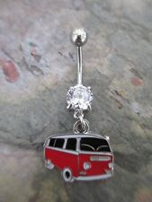US Shipper-Enameled Red & Black VW Volkswagen Van Bus Dangle Belly Navel Ring