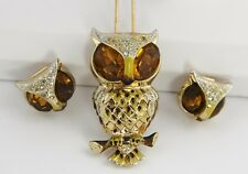 VINTAGE Jewelry CORO CRAFT FIGURAL OWL DRESS CLIP & MATCHING CLIP EARRINGS