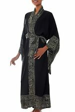 Women's Batik Robe Black and White Rayon Handmade 'Midnight Rose' NOVICA Bali