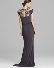 $935 Badgley Mischka Charcoal Gray Jersey Prom Gown Dress Size 8 M Medium New