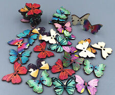 Colorful Butterfly Phantom Wooden Buttons Sewing Supplies Mixed Wholesale 50pcs