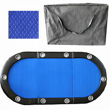 "84"" 10 Player Tri-Fold Folding Poker Table Top Speed Cloth & Carrying Case Blue"