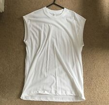 AMERICAN APPAREL SLEEVELESS White Shirt Vest dead drop Death Grunge Gym