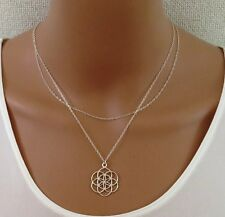 double layered silver seed of life necklace,sacred geometry ,flower of life