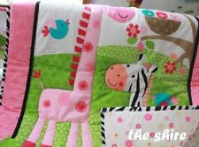 Baby Bedding Crib Cot Quilt Set- NEW 10pcs Quilt Bumper Sheet Dust Ruffle
