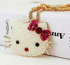 NEW Betsey Johnson fashion crystal lovely cat head pearl necklace !