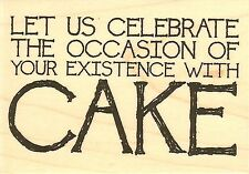 Birthday Cake Text, Wood Mounted Rubber Stamp IMPRESSION OBSESSION - NEW, D14388