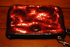 NEW Coach Leather Red Sequin Metallic Zip Clutch Wristlet