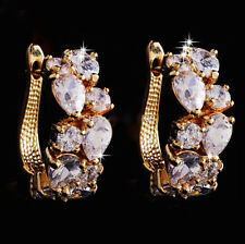 14k Gold GF Earrings made w/ Auth Swarovski Crystal Clear Stone Bridal Prom