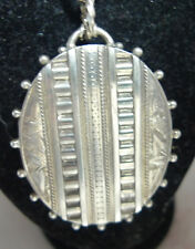 Victorian Silver Locket Necklace Horace Woodward & Co Birmingham 1880 62cm 35g