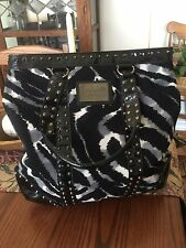 BETSEYVILLE By BETSEY JOHNSON XLRG Shopper Tote Animal Print Black Gray Studs Ed