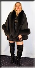 New Charcoal Gray Cashmere Cape Charcoal Gray Fox Fur Trim Efurs4less