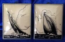 Silhouette Pictures Sailboats Reverse Painting Convex Glass Framed Vintage