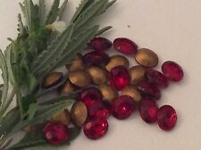 Vintage Czech gold foiled Ovals Siam Ruby 12x10mm Pack of 8 CRAFT Post Free