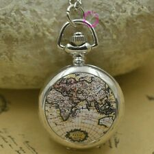Silver classic fashion girl pocket watch necklace brown globe world map chain