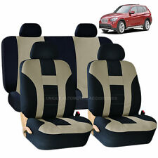BEIGE & BLACK DOUBLE STITCH SEAT COVERS 8PC SET for BMW 3 5 7 SERIES