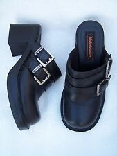 HARLEY DAVIDSON Women's Clogs Shoes Size 5.5 #81384 Black Leather two strap