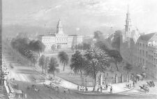 CENTRAL PARK & CITY HALL NEW YORK ~ Antique Old 1838 Art Print Engraving RARE!!