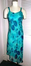 Glittery Teal Mlle Gabrielle Vintage Sleeveless Evening Cocktail Dress Size 10