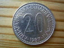 1987 Jugoslavia 20 Dinar Coin Collectable