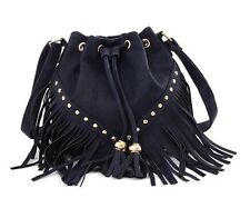 Small Navy Blue Drawstring Bucket Bag with studs