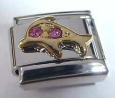 GOLD DOLPHIN Italian Charm PINK GEMS October 9mm fits Classic Starter Bracelets