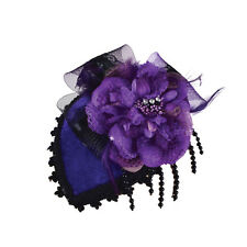 Ladies Mini Purple Hat On Clip Victorian Burlesque Fancy Dress Costume Prop