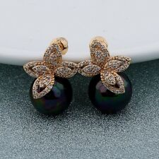 Eternity swarovski crystal stud brand new 18k gold filled Black Pearl earring
