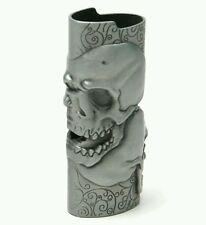 Pewter Metal Bic Lighter Case With Big Skull Design
