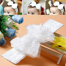 Baby Infant White Christening Flower Headband Toddler Lace Rose Bow Headdress