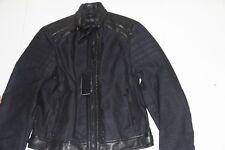 Ralph Lauren Black Label Navy Blue Canvas Leather Moto Jacket Slim Fit Small S