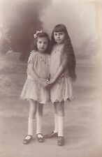 Beautiful Antique RPPC: Photo, Two Girls Holding Hands, Long Hair, Lace Dresses