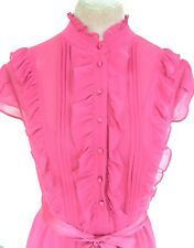 Pink Sheer Pleat Frilly Ruffle Blouse overlay occasion Dress 10 12 wedding races