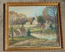 important large early landscape oil canvass painting signed Auguste Herbin