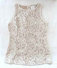 New BANANA REPUBLIC Ivory Lace/Nude Sleeveless Top Back Buttons Size 0