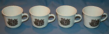 4 Vtg Corelle Cups Batik Brown Flowers Corningware Glass Tea Mugs
