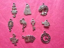 Tibetan Silver Alice in Wonderland Themed Mixed Charms 10 per pack