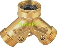 Solid Brass 2-Way Y Water Hose Connector ~ Two-Way Metal Garden Splitter Valve