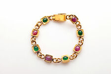 Designer $12,000 16ct Colombian Emerald Star Ruby 24k PURE GOLD Bracelet 31g 7.5