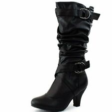 New Women's Fashion Dress  Low Heel Zipper Mid Calf Knee High Boots Size 5 - 10