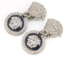 GIANNI VERSACE Medusa Dangle Earrings Silver Black White Charm Clips #73