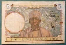 FRENCH WEST AFRICA 5  FRANCS NOTE ISSUED 06.05. 1942 ,P 22, LIGHT BLUE VERSION