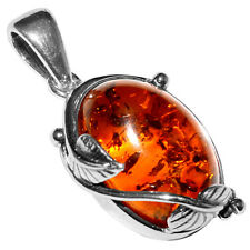 3.6g Authentic Baltic Amber 925 Sterling Silver Pendant Jewelry A359