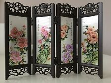 Oriental Chinese Folding Screen with Chinese Paintings 4 Panels Double sided