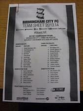 02/11/2013 teamsheet: Birmingham City V Charlton Athletic. l'oggetto in ottime con