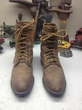 DISTRESSED JUSTIN USA BROWN LEATHER LACE UP ENGINEER ROAD BOSS TRUCKER BOOTS 8 D