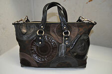 Coach Ashley Patchwork Satchel Brown & Black Leather Twin Handle w/ Carry Strap